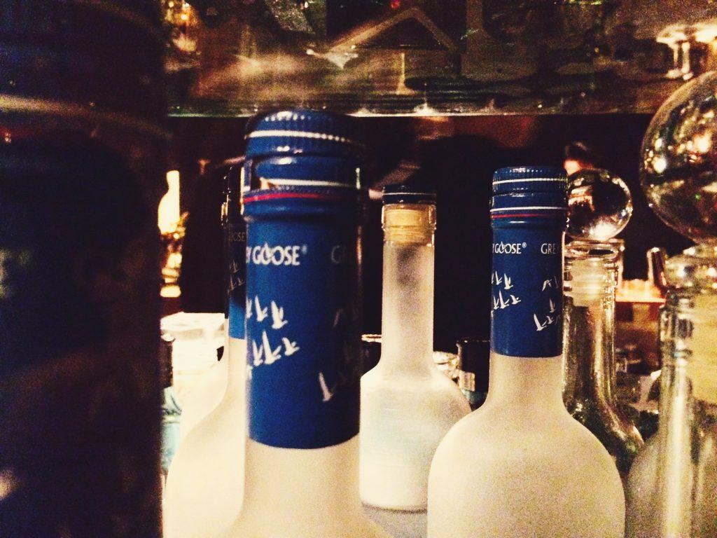 Grey goose vodka bottles at the bar in Akasaka, Tokyo